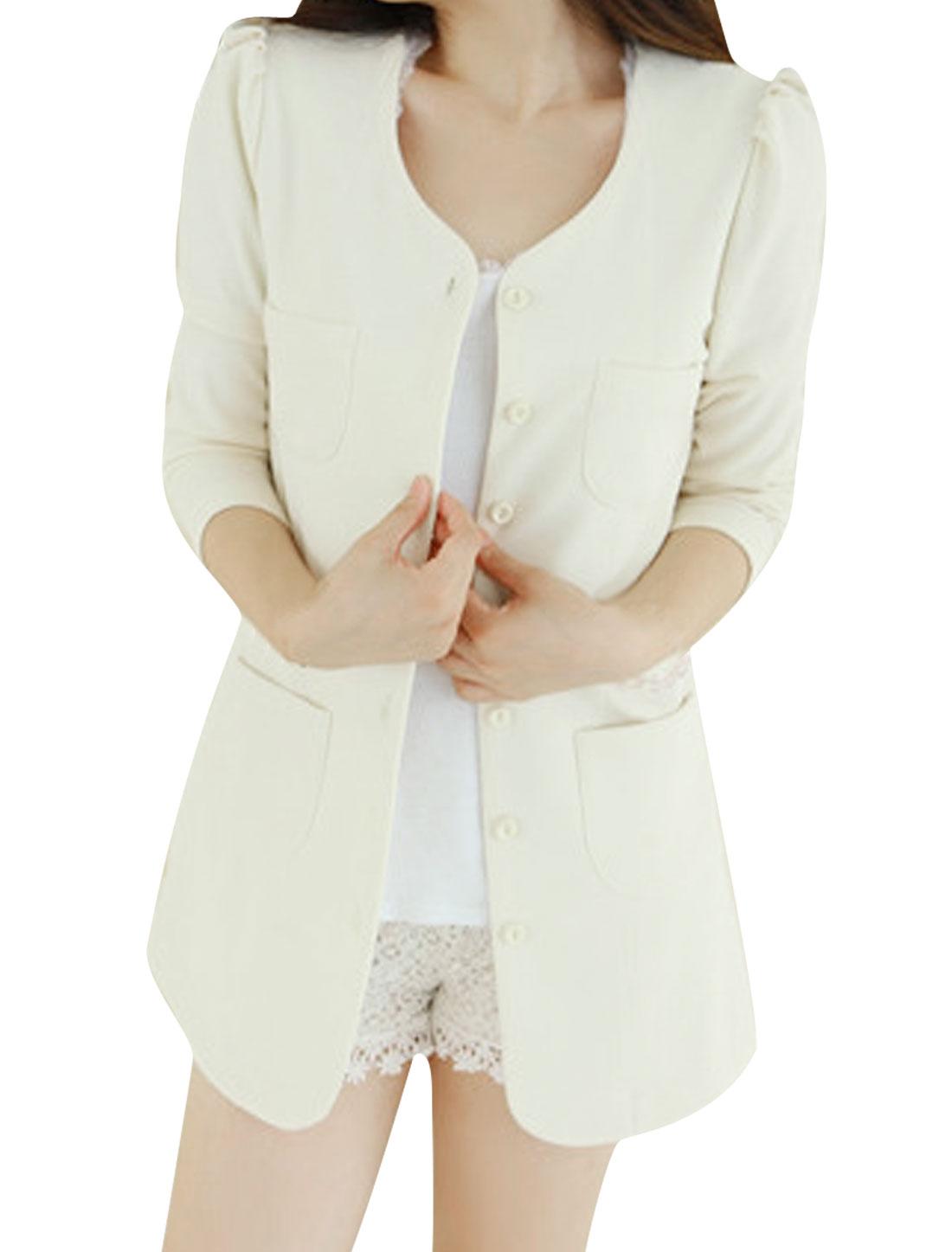 Women Round Neck 3/4 Puff Sleeves Button Closed Blazer White XS