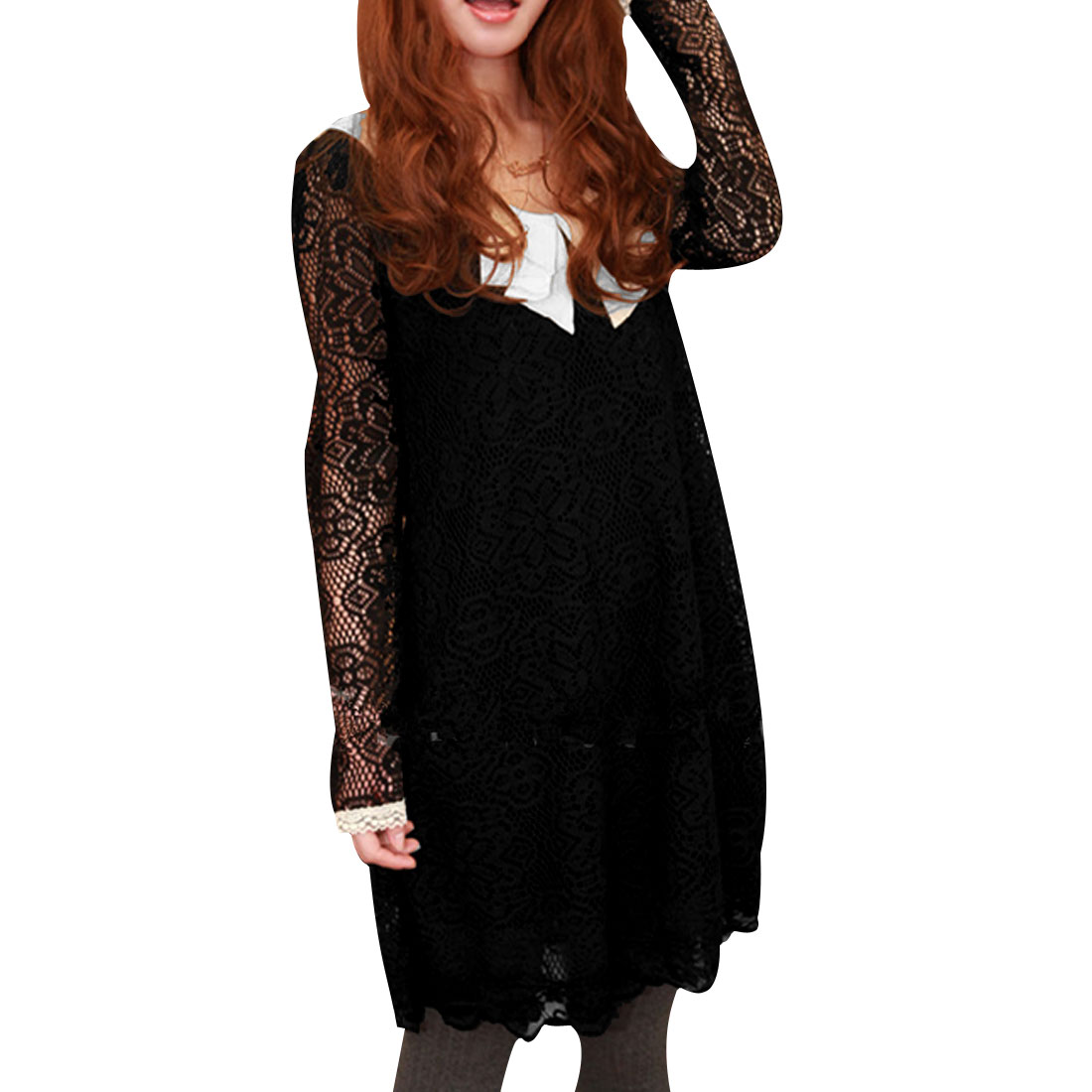 Ladies Long Sleeve Doll Collar Color Panel Black Autumn Cable Dress XS