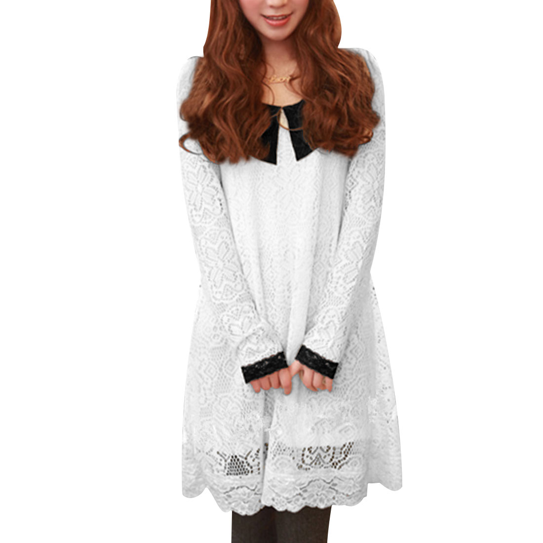 Ladies Peter Pan Collar Crochet White Lace Design Autumn Cable Dress XS