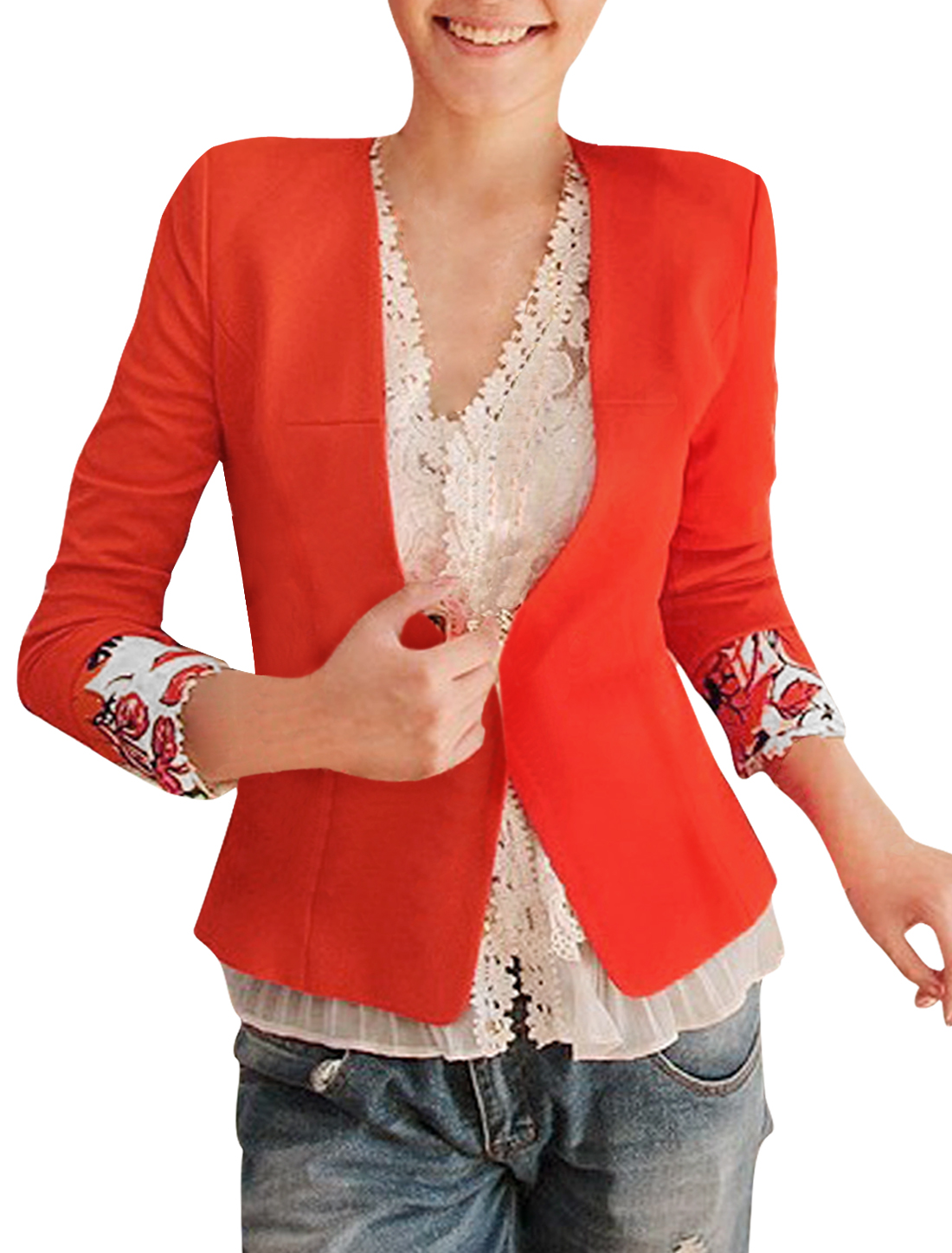 Ladies Long Sleeve Flouncing Back Hem Padded Shoulder Orange Blazer S