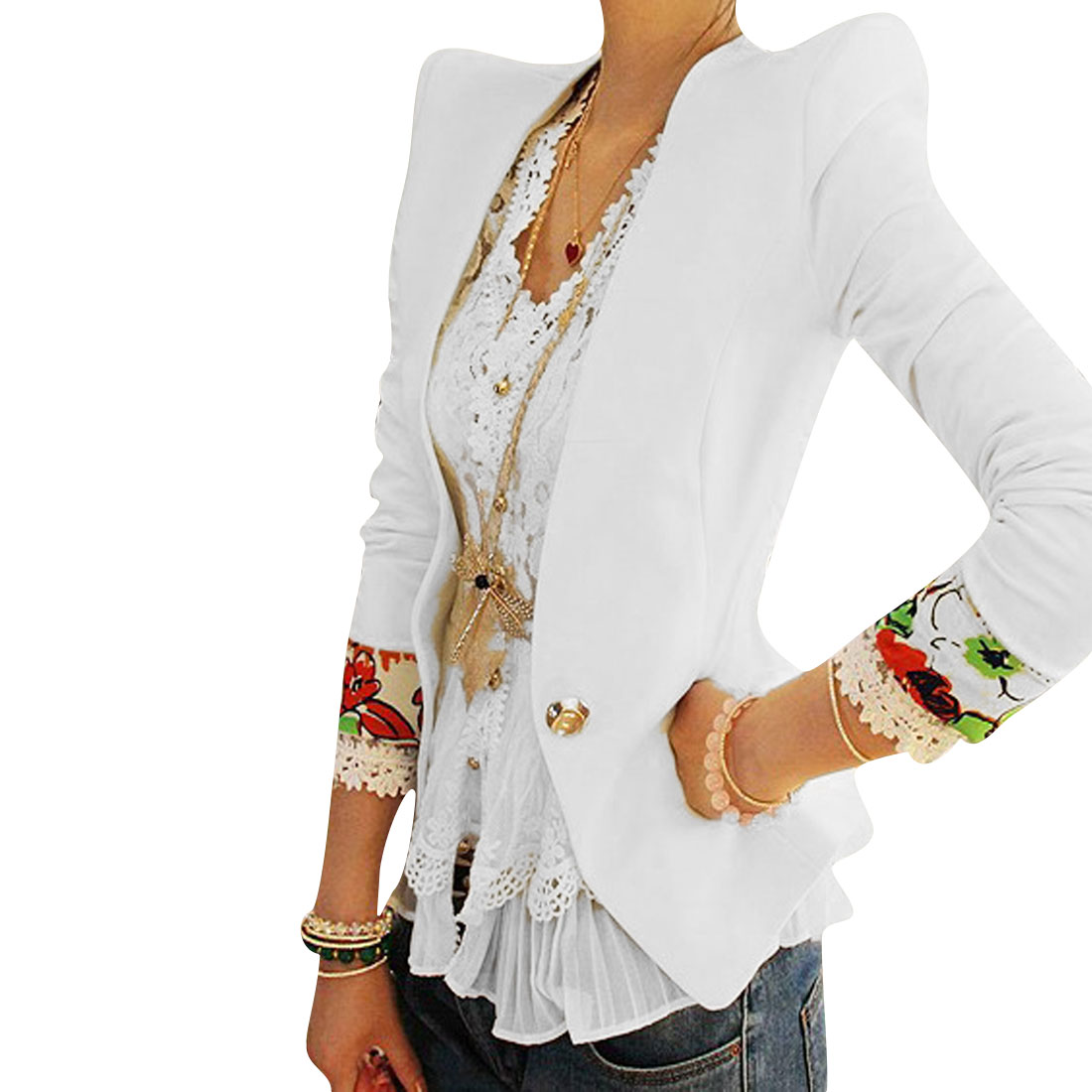 Ladies Long Sleeve Deep V Neck Padded Shoulder Texture White Blazer XS