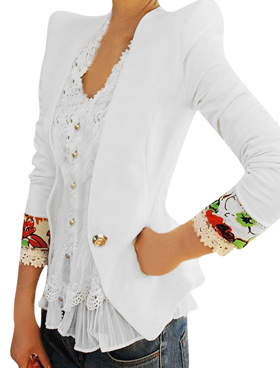 Ladies Padded Shoulder Flouncing Back Hem Waist Length White Blazer XS