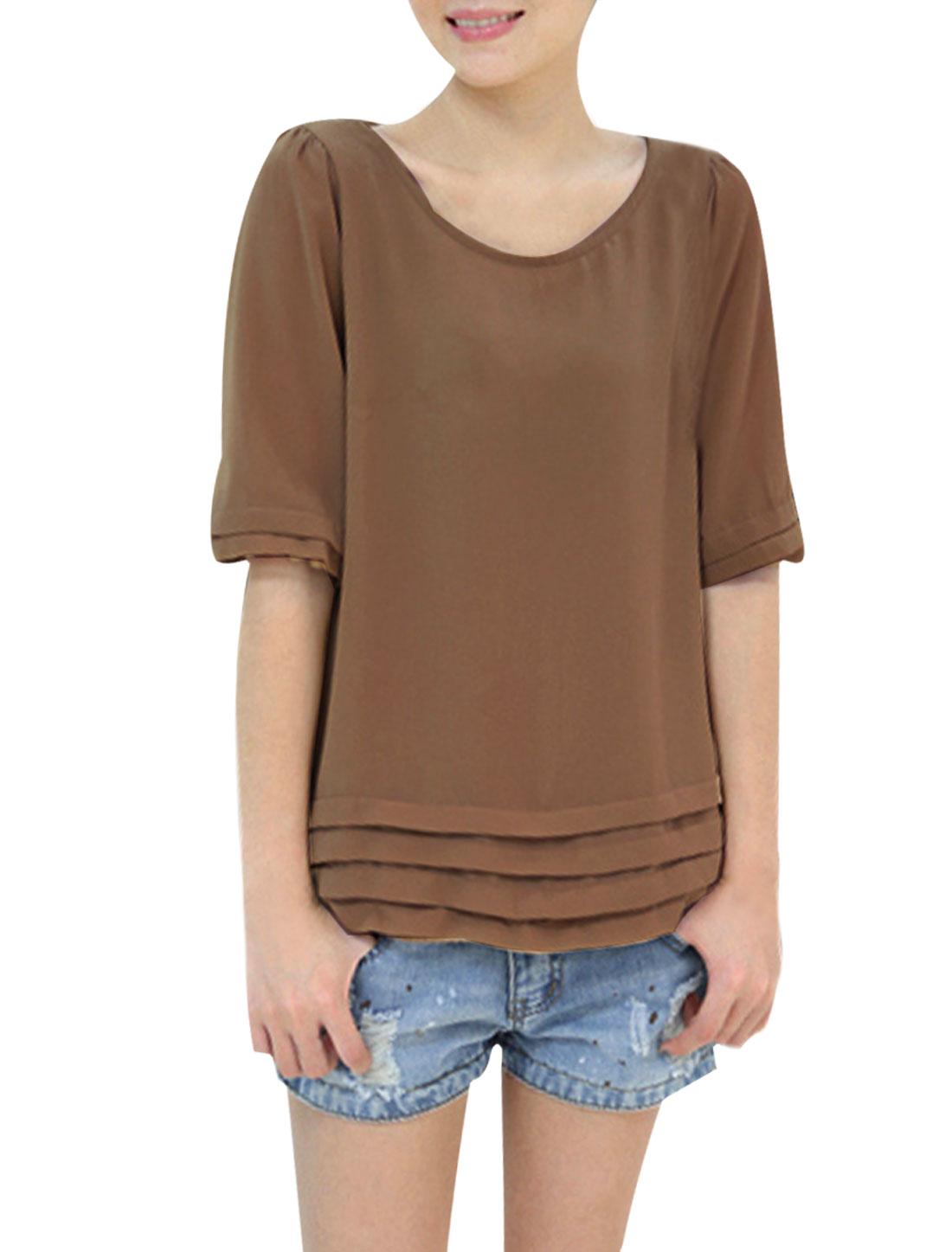 Ladies Tiered Short Sleeve Elastic Waistband Semi Sheer Khaki Chiffon Shirt XS