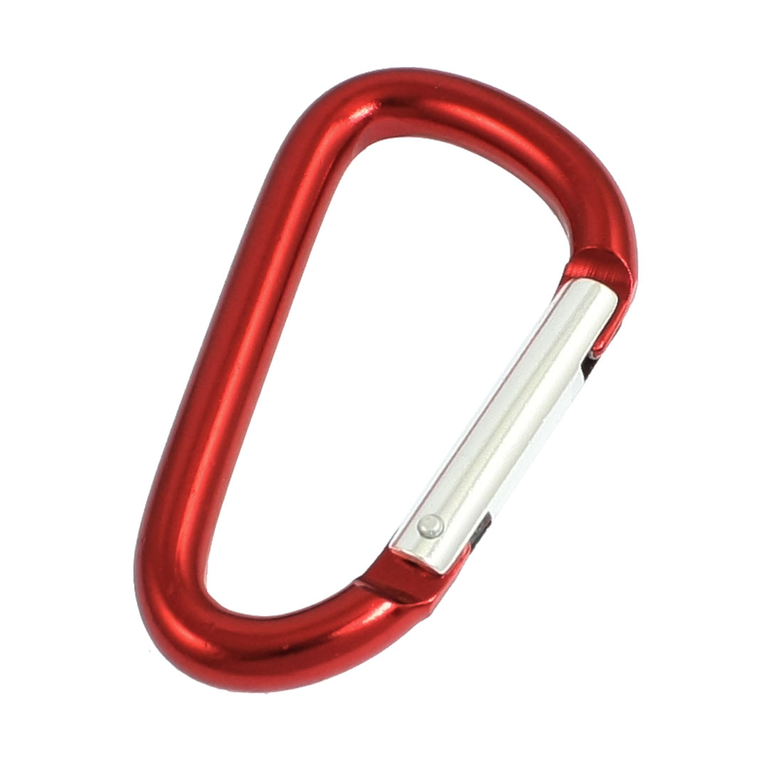 Red Silver Tone Aluminum Alloy D Shape Lockable Carabiner