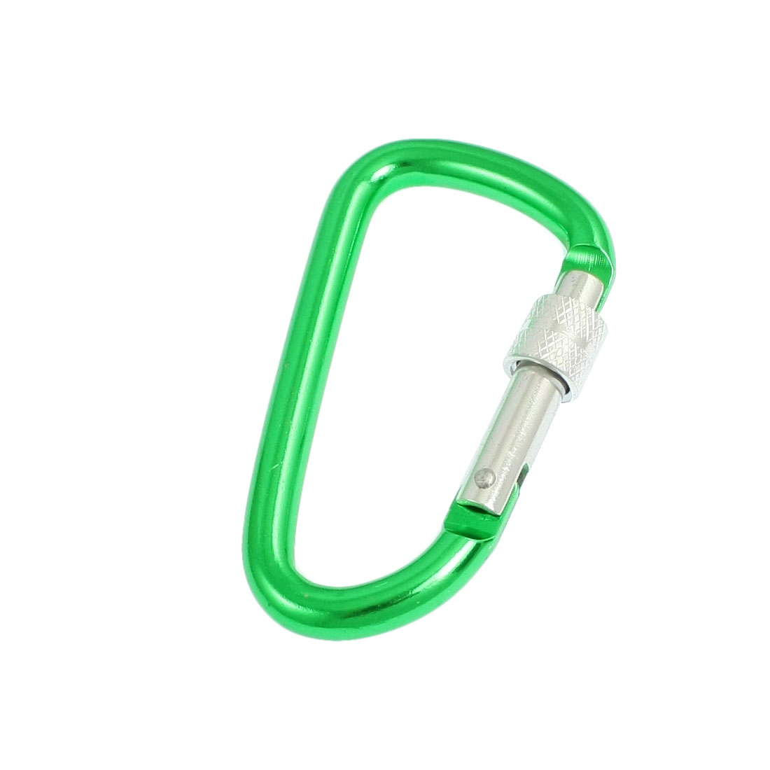 Camping Spring Loaded D Shape Green Aluminum Alloy Locking Carabiner