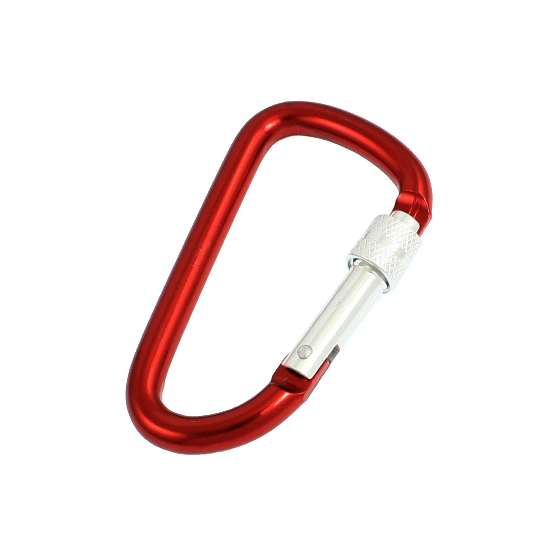 Camping Spring Loaded D Shape Red Aluminum Alloy Locking Carabiner