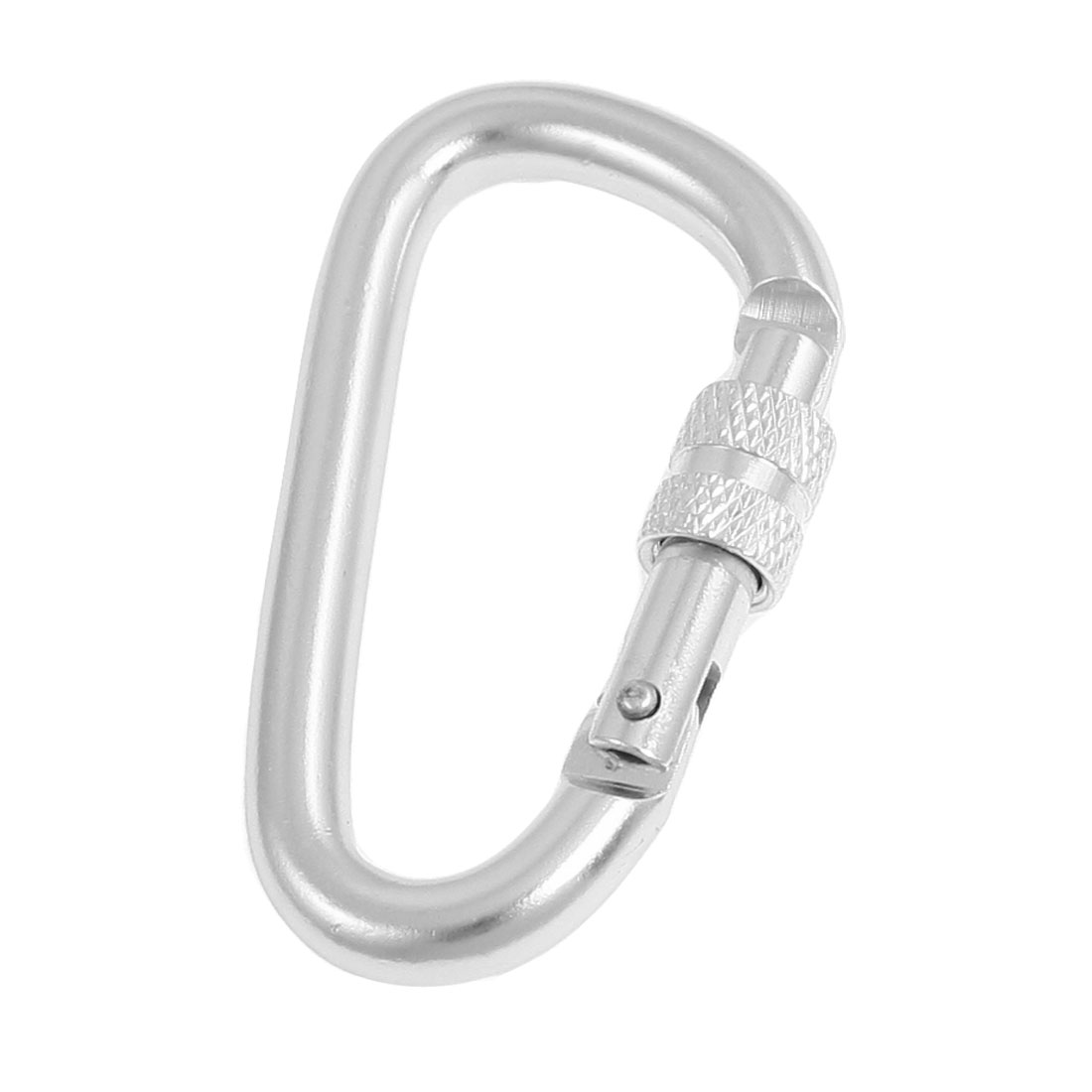 D Shaped Spring Loaded Gate Silver Tone Aluminum Alloy Lockable Carabiner