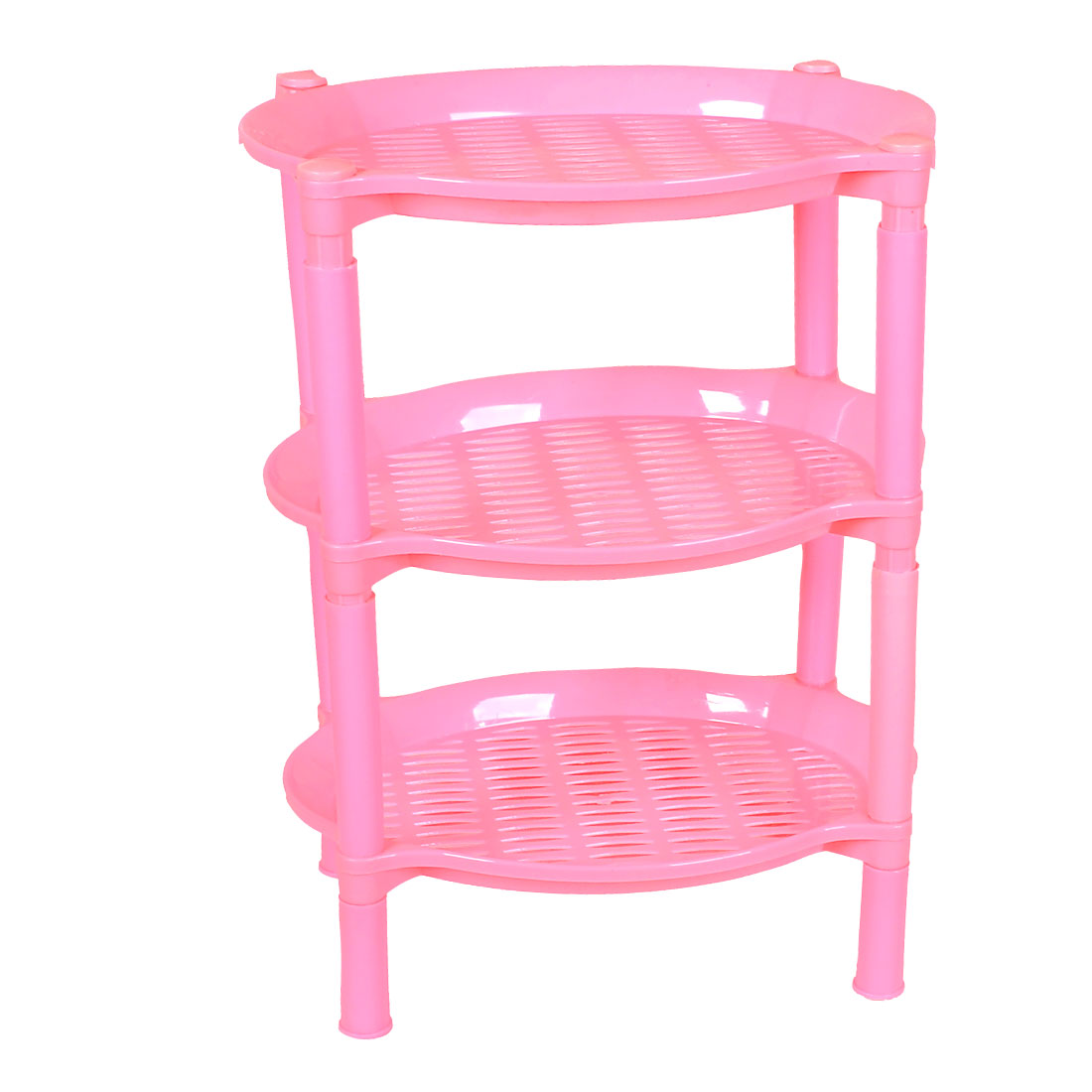 Household Oval Shape 3 Layers Pink Plastic Mini Storage Rack Shelf