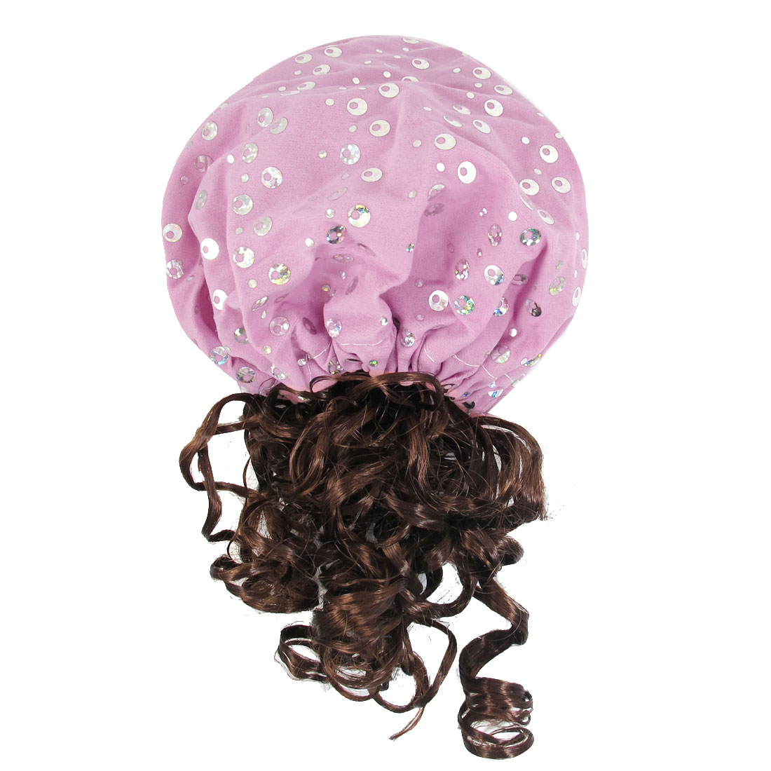 Pink Circular Paillette Accent Coffee Color Curly Hair Wig Hat for Children