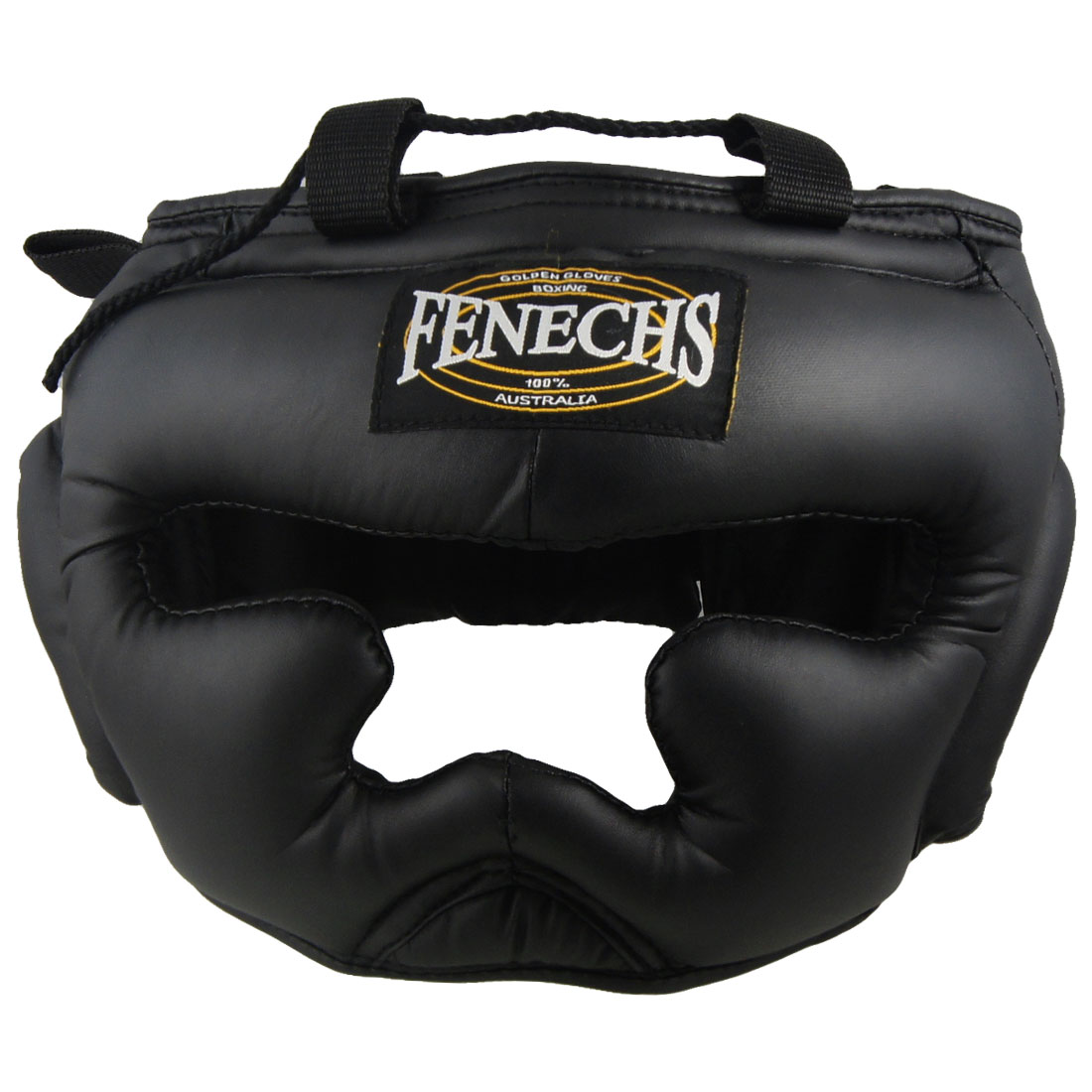 Black Faux Leather Coated Foam Lined Boxing Hat Headguard for Boxer