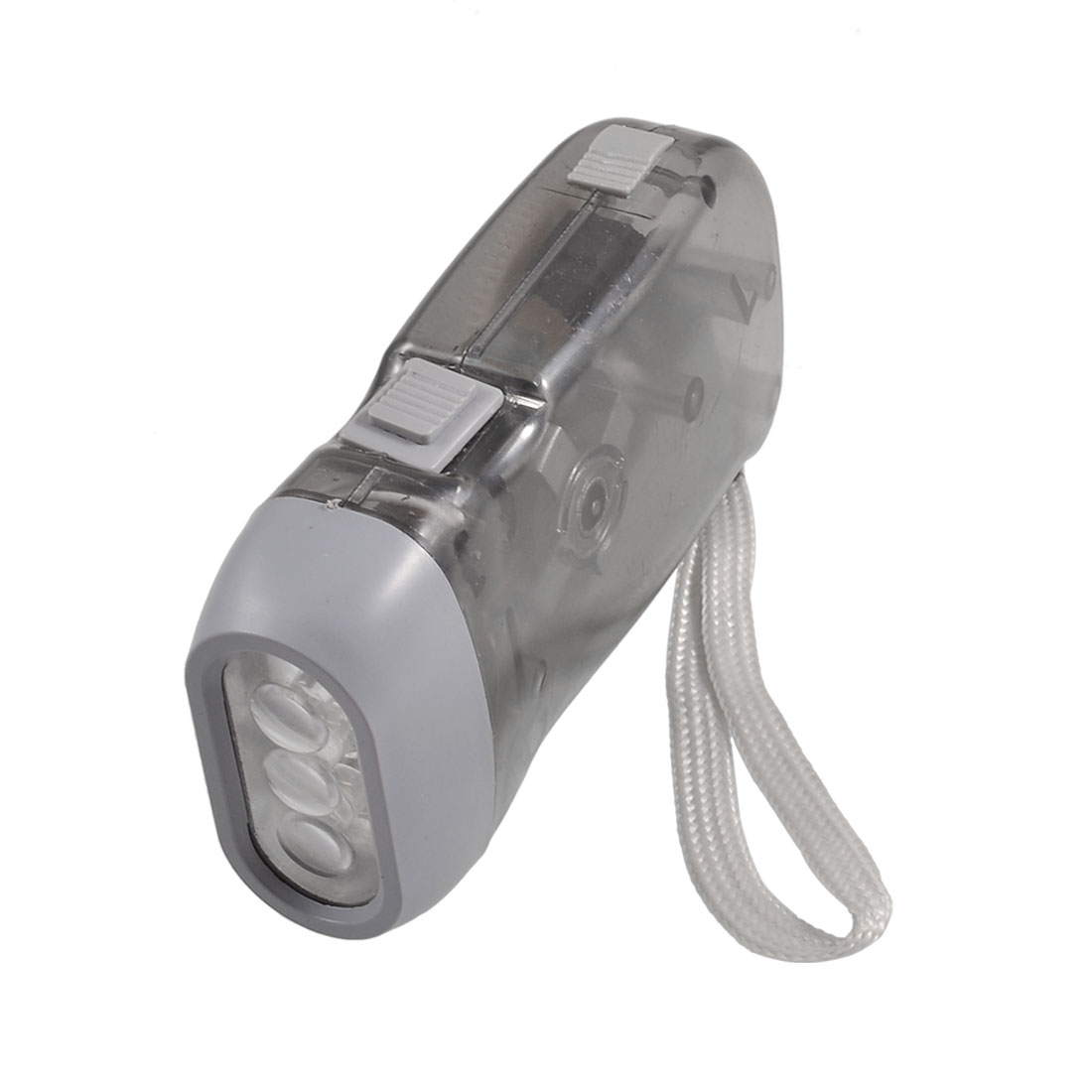 Clear Gray Shell White 3 LEDs Light Hand Pressing Flashlight Torch w Strap