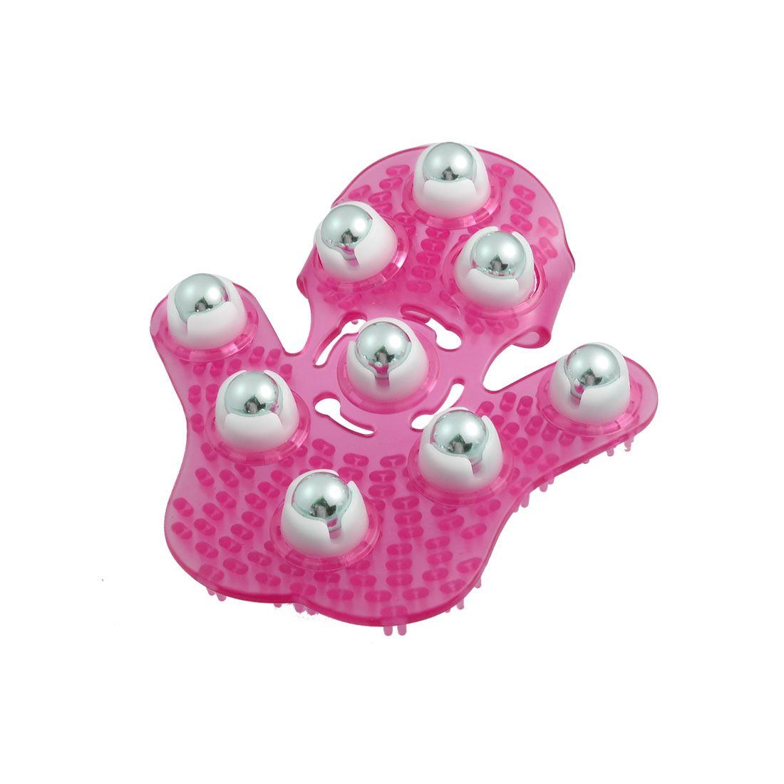 Fuchsia Plastic 9 Metal Rolling Balls Manual Body Care Massage Glove Massager
