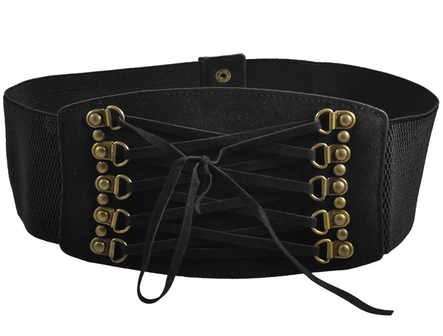 Ladies Rivets Accent Press Stud Button Texturing Elastic Waist Belt Band Black