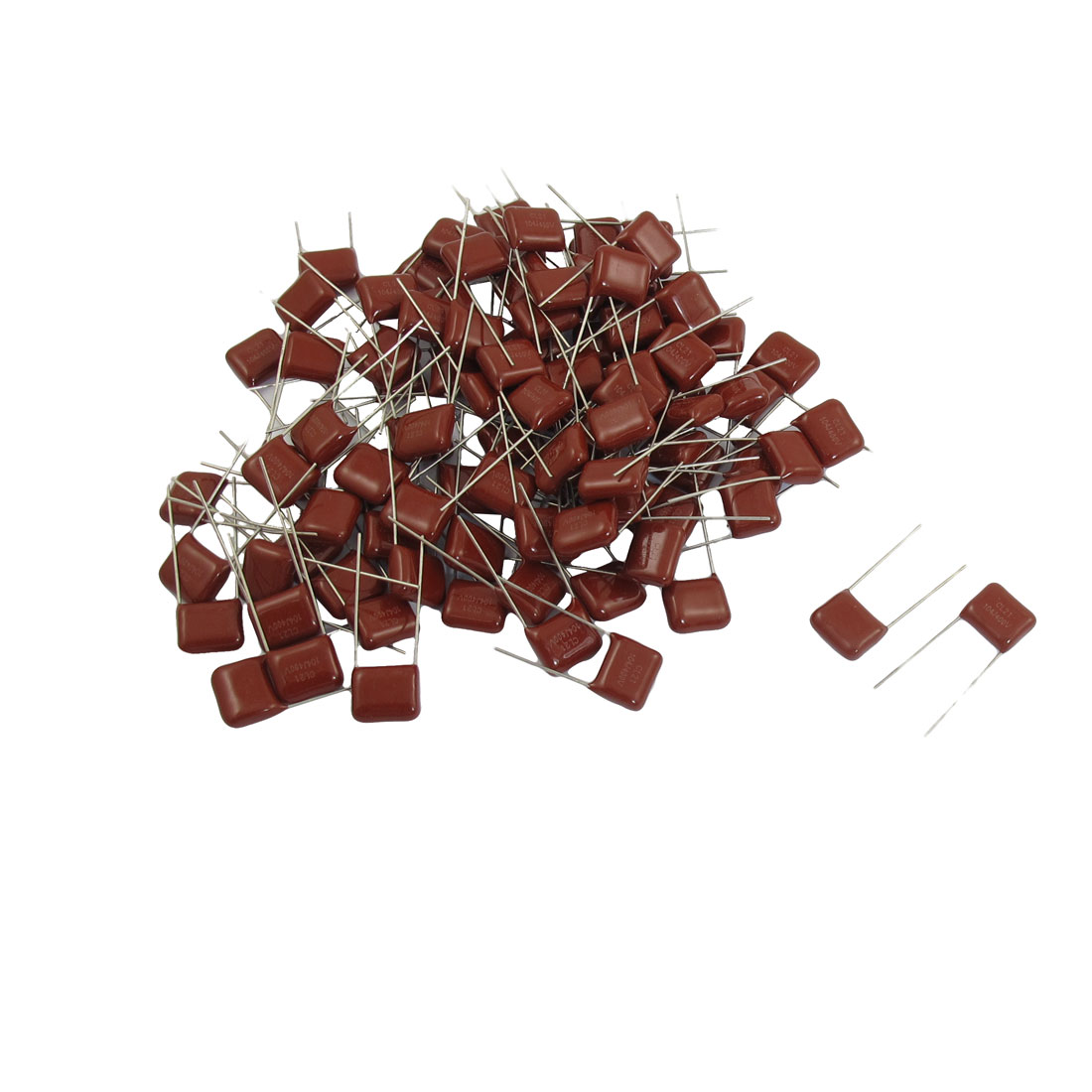 100 Pcs CL21 DIP Lead DC 400V Metallized Film Capacitors