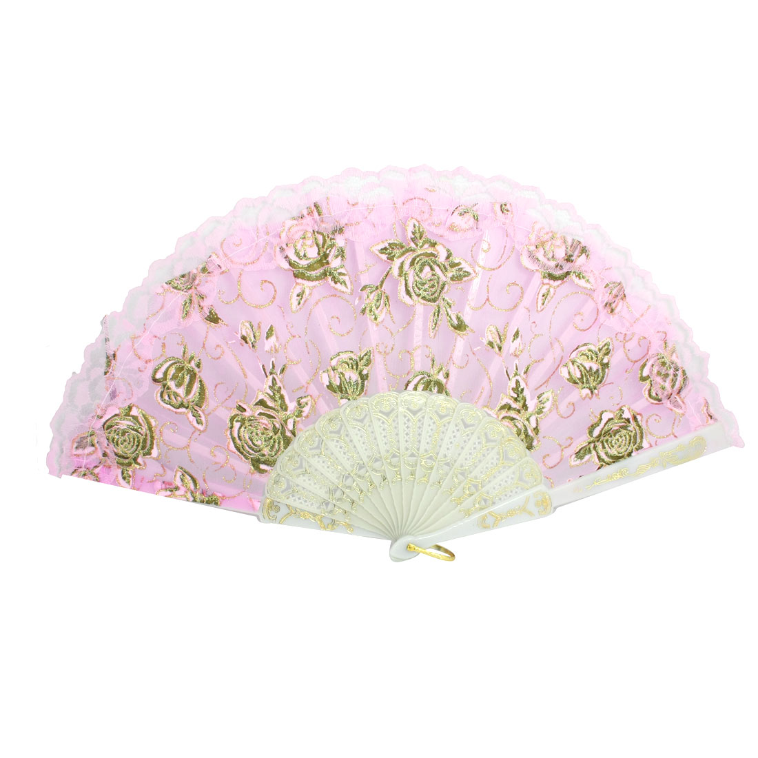 Lace Trim Plastic Frame Peony Print Pink Dance Folding Hand Fan