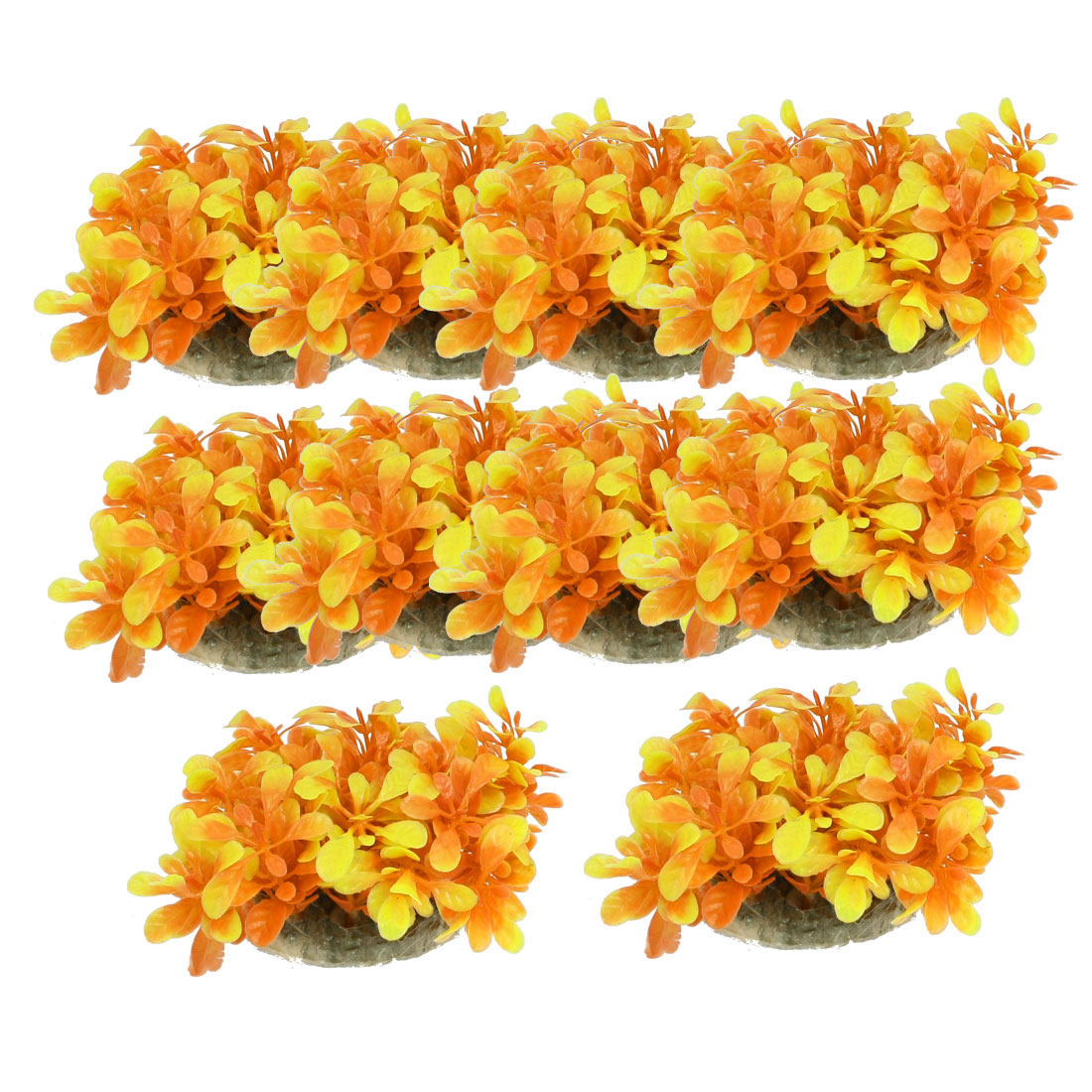 "10 Pcs Aquarium Tank Yellow Orange Plastic Plant Decor 2.4"" Height w Ceramic Base"