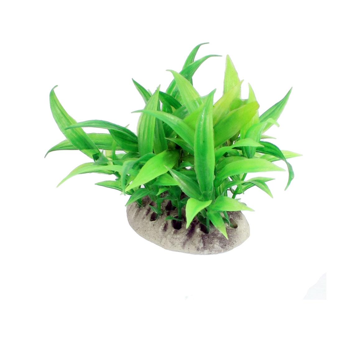 "10 Pcs Aquarium Tank Green Plastic Plant Decor 3.5"" Height w Ceramic Base"