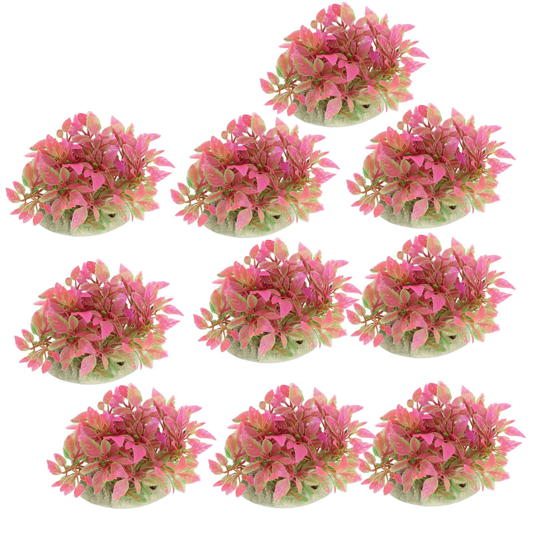 "10 Pcs Aquarium Tank Green Hot Pink Plastic Plant Decor 3.1"" Height w Ceramic Base"