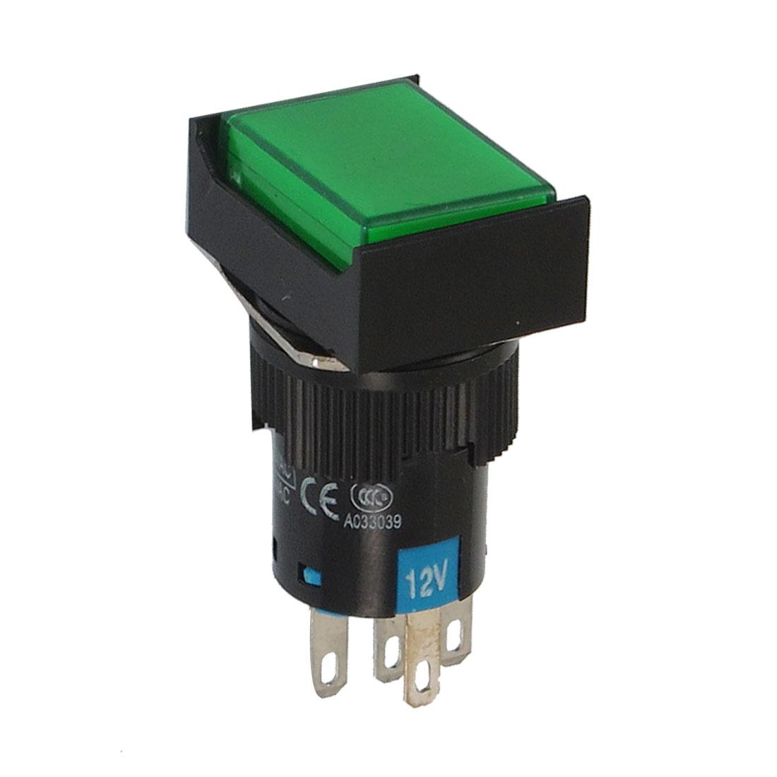 AC 220V/5A AC 250V/5A Green Neon Light Momentary Push Button Switch 12V