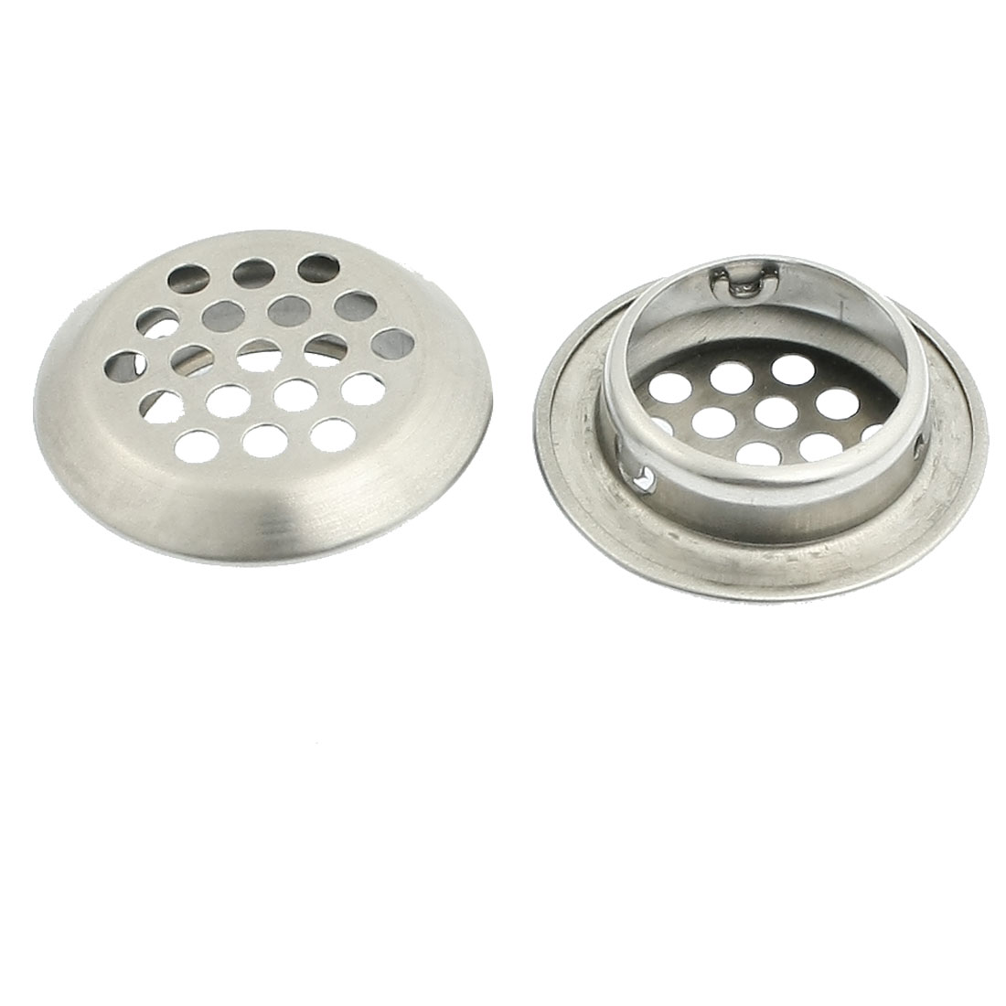 2 Pcs Silver Tone Stainless Steel 25mm Kitchen Sink Strainers