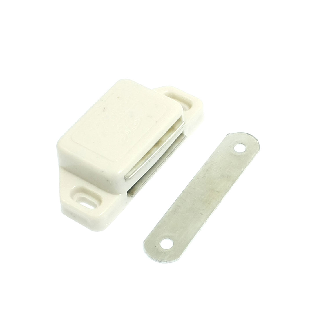 3.3mm Screw Diameter Cabinet Door White Plastic Magnetic Catch Latch