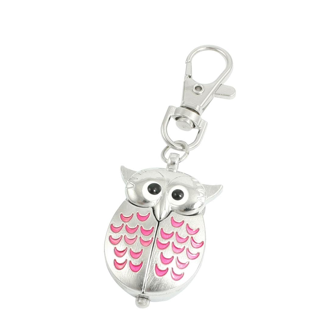 Silver Tone Pink Metal Owl Pendant Knob Adjustable Time Keyring Watch
