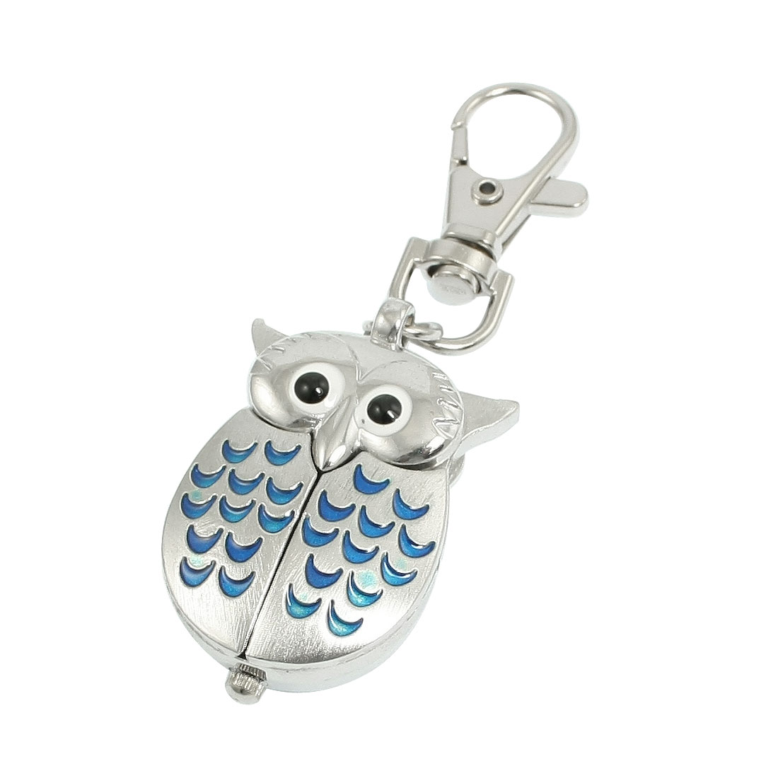 Silver Tone Blue Lobster Clasp Keychain Metal Owl Shape Quartz Watch