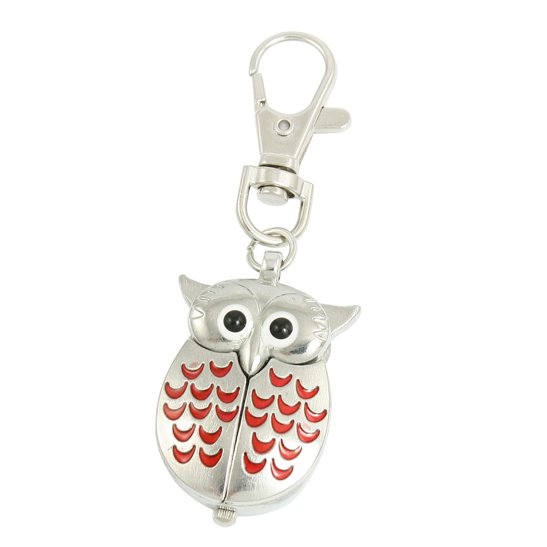 Silver Tone Red Lobster Clasp Keychain Metal Owl Shape Pendant Quartz Watch
