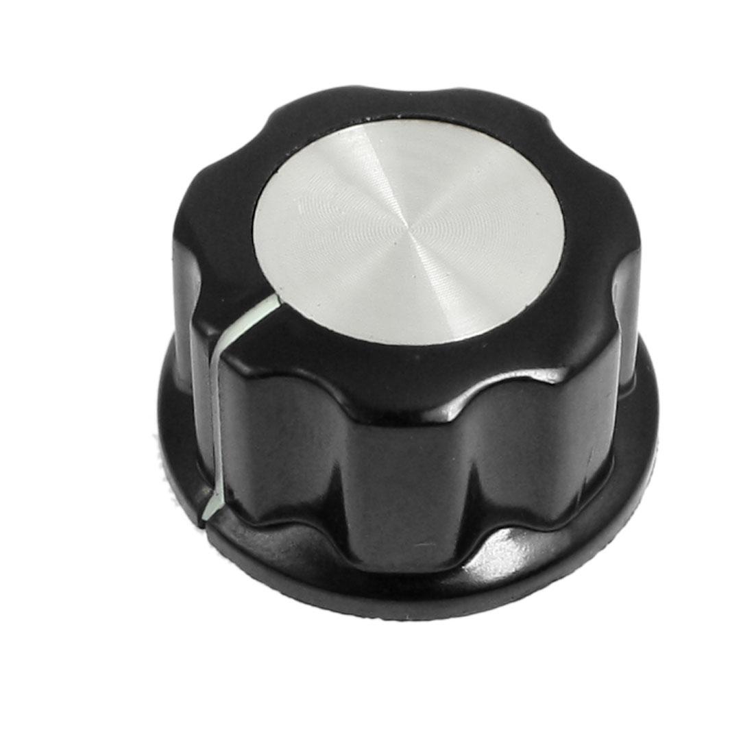 27mm x 15mm Potentiometer Control Volume Rotary Knob Cap Black Silver Tone