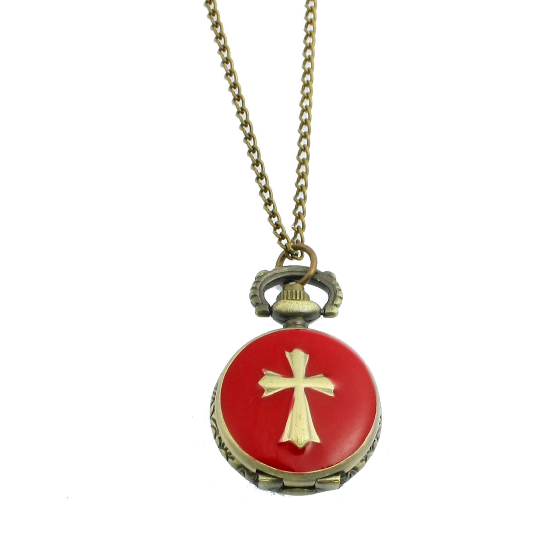 Ladies Metal Round Case Crossed Shape Pendant Necklace Watch Bronze Tone Red