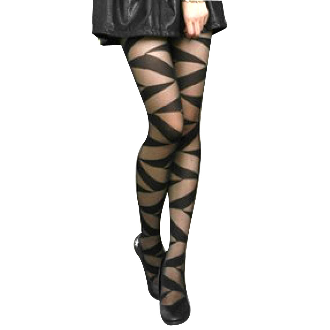 Ladies Black Stripe Sheer Elastic Closefitting Pantyhose Tights XS