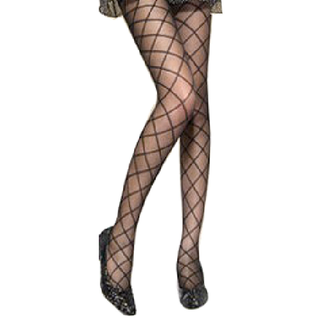 Stretchy Rhombus Pattern Sheer Black Pantyhose Tights for Women XS