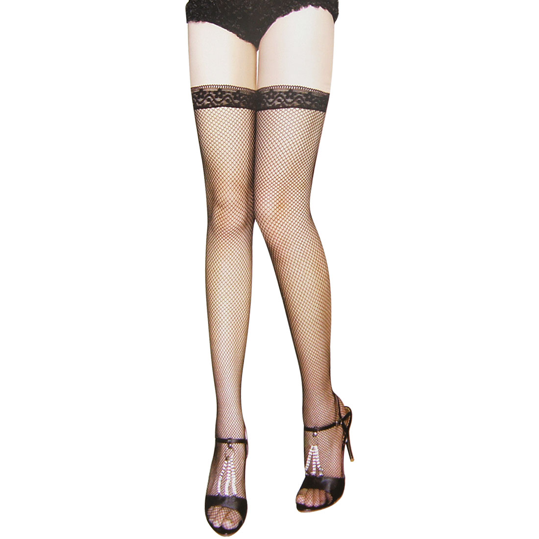 Ladies Black Flower Lace Top Stretch Thigh High Sexy Fishnet Stockings