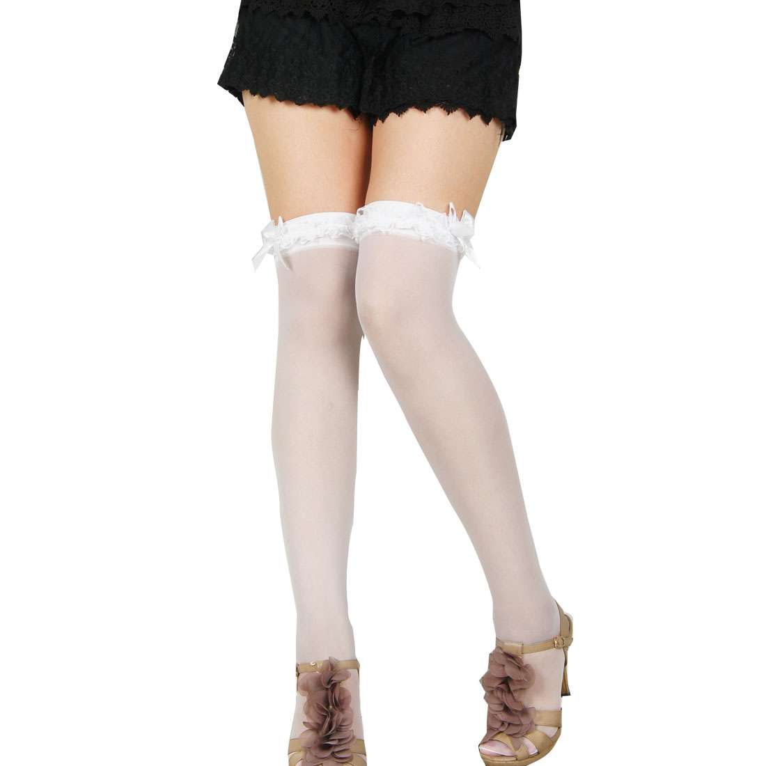 Ladies Ruched Lace Top White Bowknot Decor Sheer Thigh High Stockings