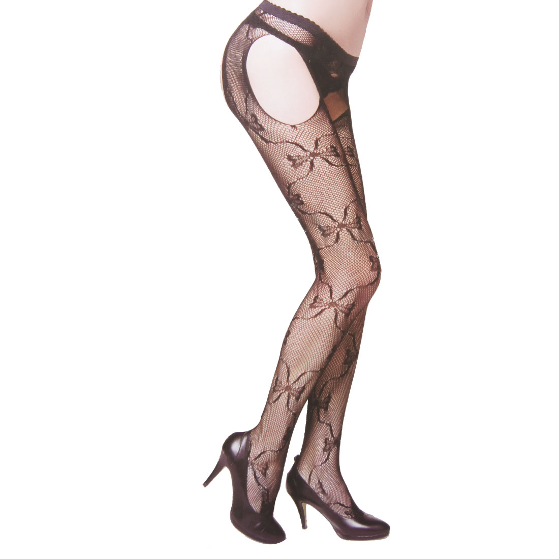 Ladies Cut Out Open Crotch Black Sexy Fishnet Pantyhose XS