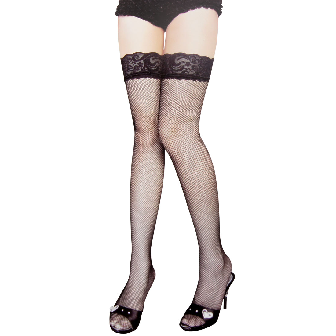 Lady Black Flower Lace Stretchy Thigh High Mesh Stockings