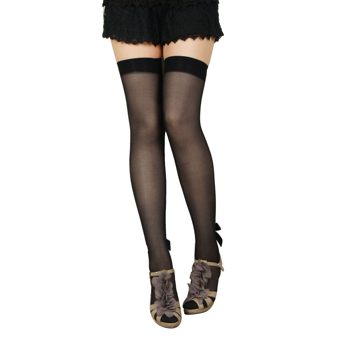 Ladies Dots Pattern Sexy Black Sheer Ribbon Bowknot Strap Decor Stockings