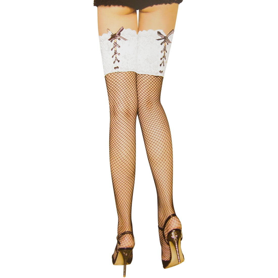 Ladies White Flower Lace Stretchy Black Thigh High Sexy Mesh Stockings