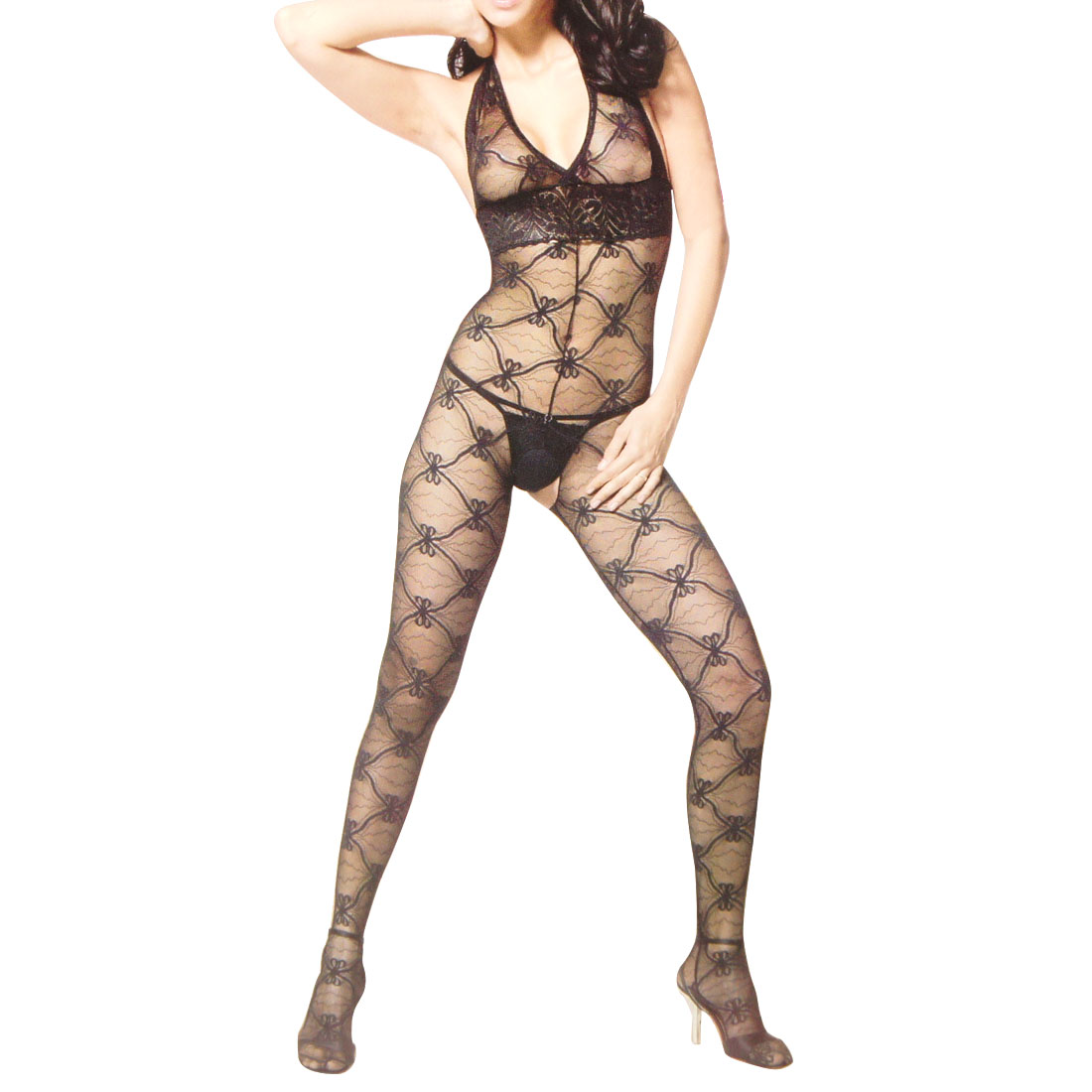 Ladies Halter Neck Black Sexy Lingerie Mesh Body Stockings Costume XS