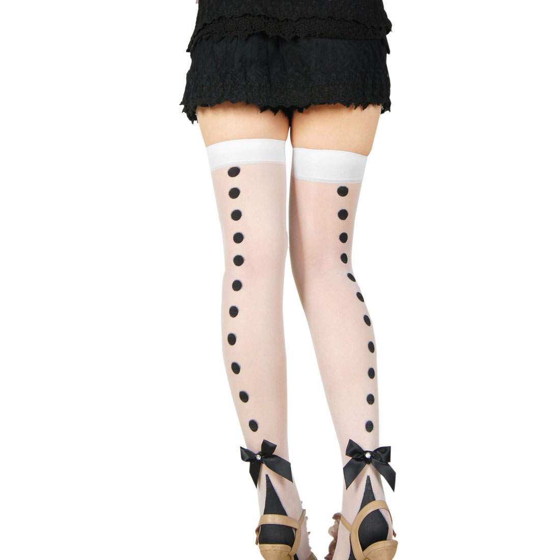 Woman Black Dots Pattern Stretchy Thigh High Sheer Stockings