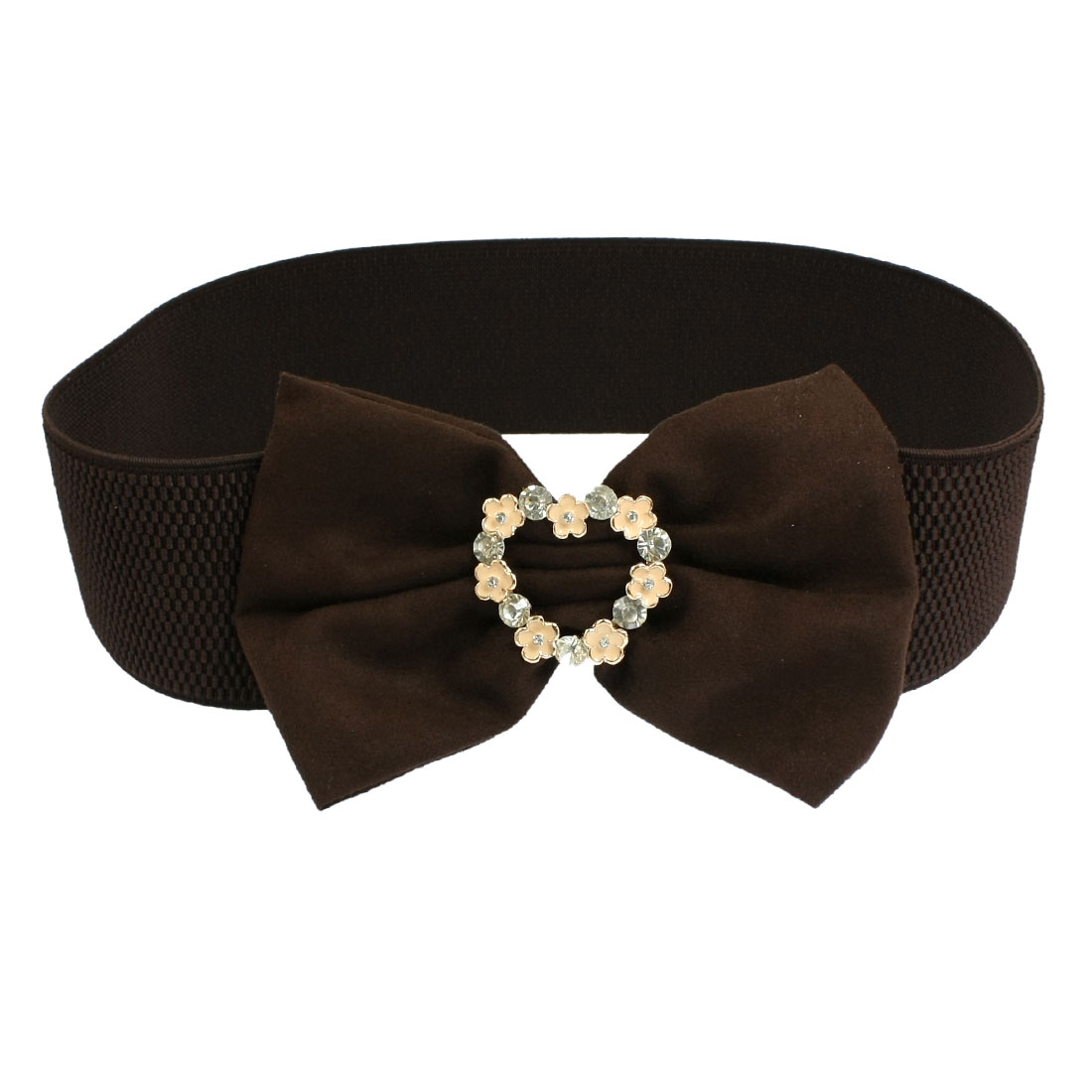 Coffee Color Flannel Bowknot Rhinestone Flower Detail Elastic Cinch Waist Belt