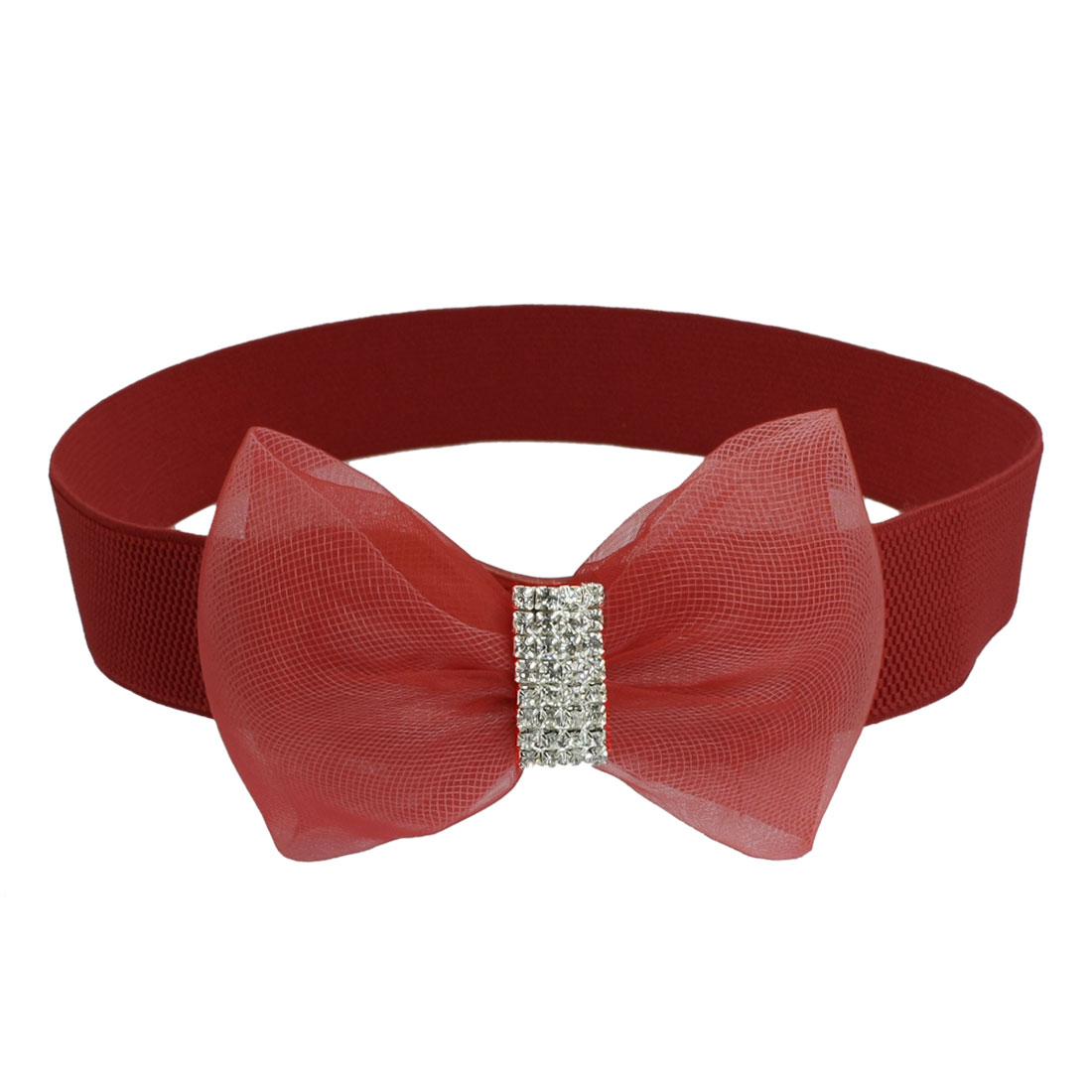 Lady Rhinestone Inlaid Gauze Bowknot Decor Elastic Cinch Waist Belt Red