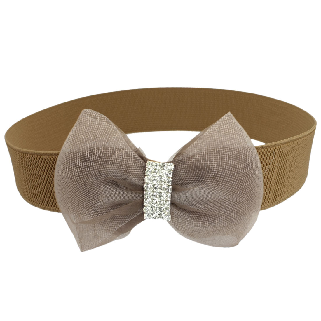 Lady Rhinestone Accent Gauze Bowknot Decor Elastic Cinch Waist Belt Brown
