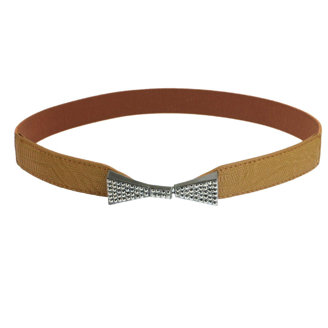 Lady Rhinestone Inlaid Detail Bowknot Elastic Band Cinch Waist Belt Brown