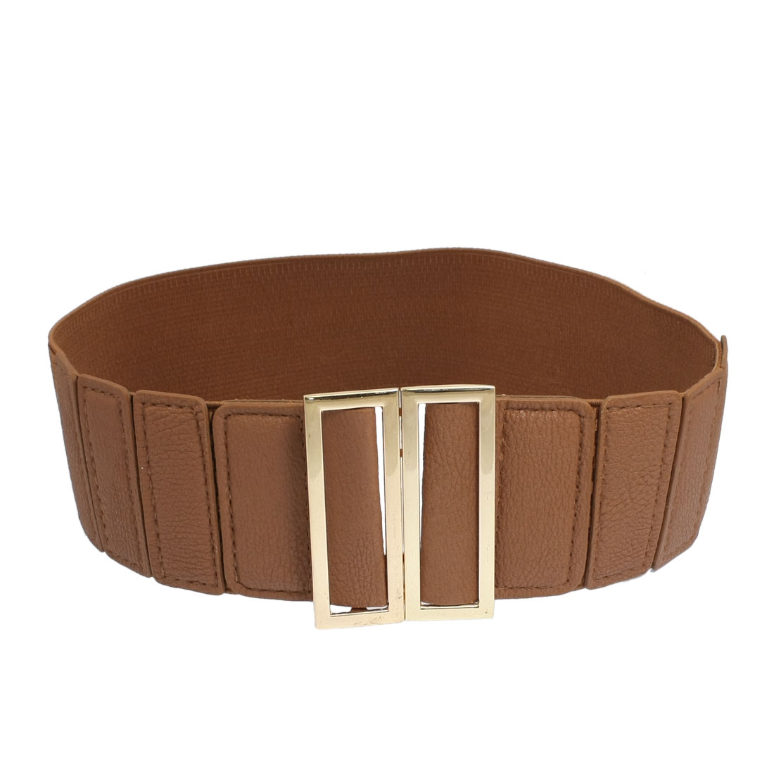 Women Brown Faux Leather Metal Rectangle Decor Elastic Band Cinch Waist Belt