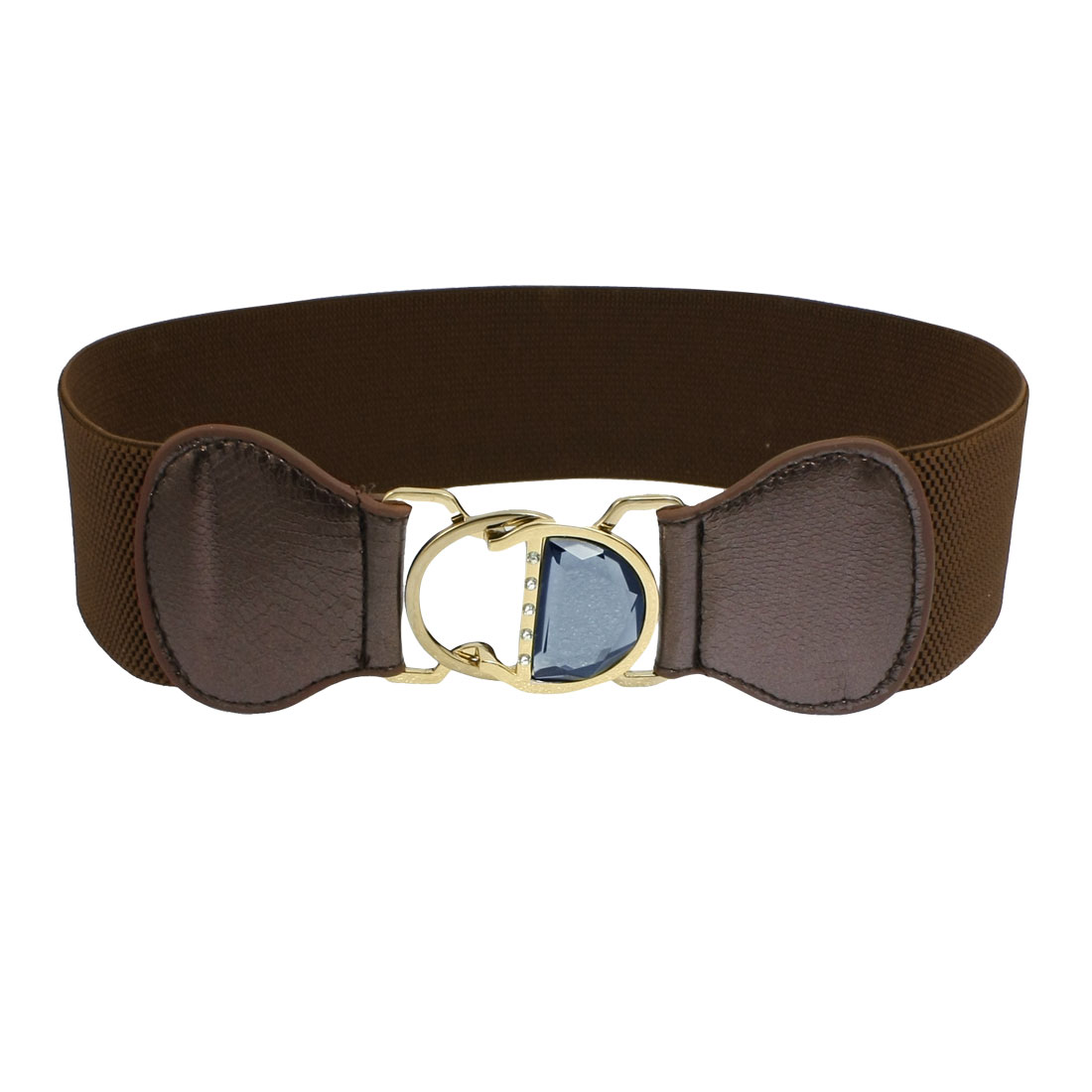 Lady Gray Rhinestone Coffee Color Faux Leather Elastic Band Waist Belt
