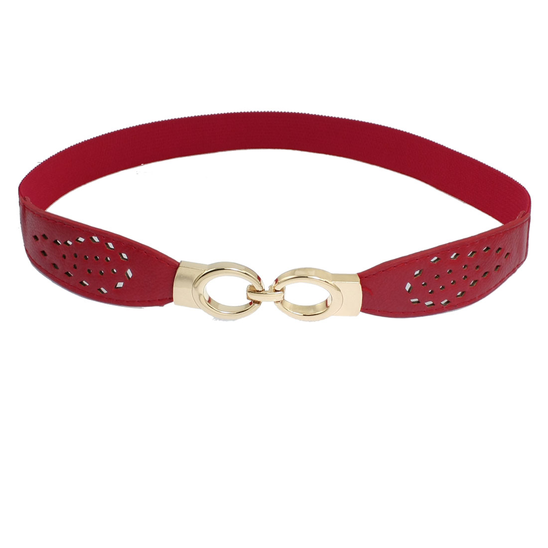 Ladies Red Hollow Out Faux Leather Band Elastic Cinch Waist Belt