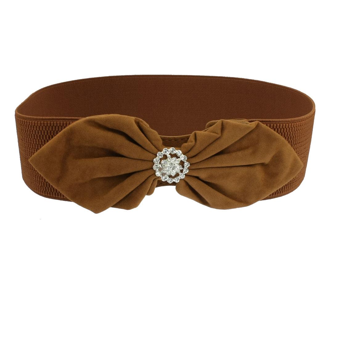 Brown Flannel Bowknot Clear Rhinestones Cluster Elastic Cinch Waist Belt