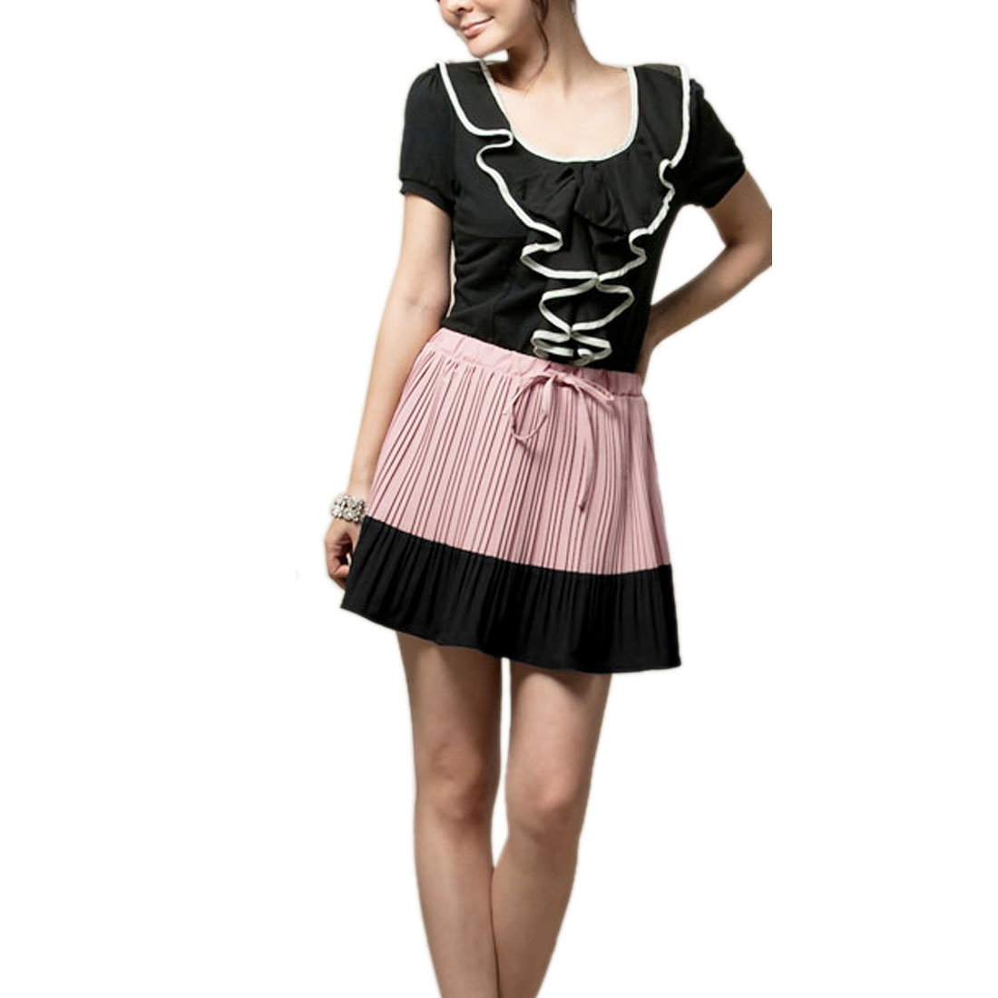 Light Pink Color Contrast Drawstring Elastic Waist Chiffon Skirt for Ladies S