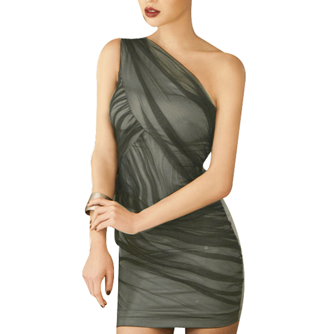 Women Light Gray Summer One Shoulder Sleeveless Tight-fitting Lining Mini Dress XS